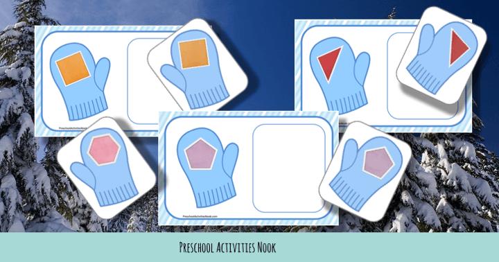 winter mittens shape matching free preschool printable activity