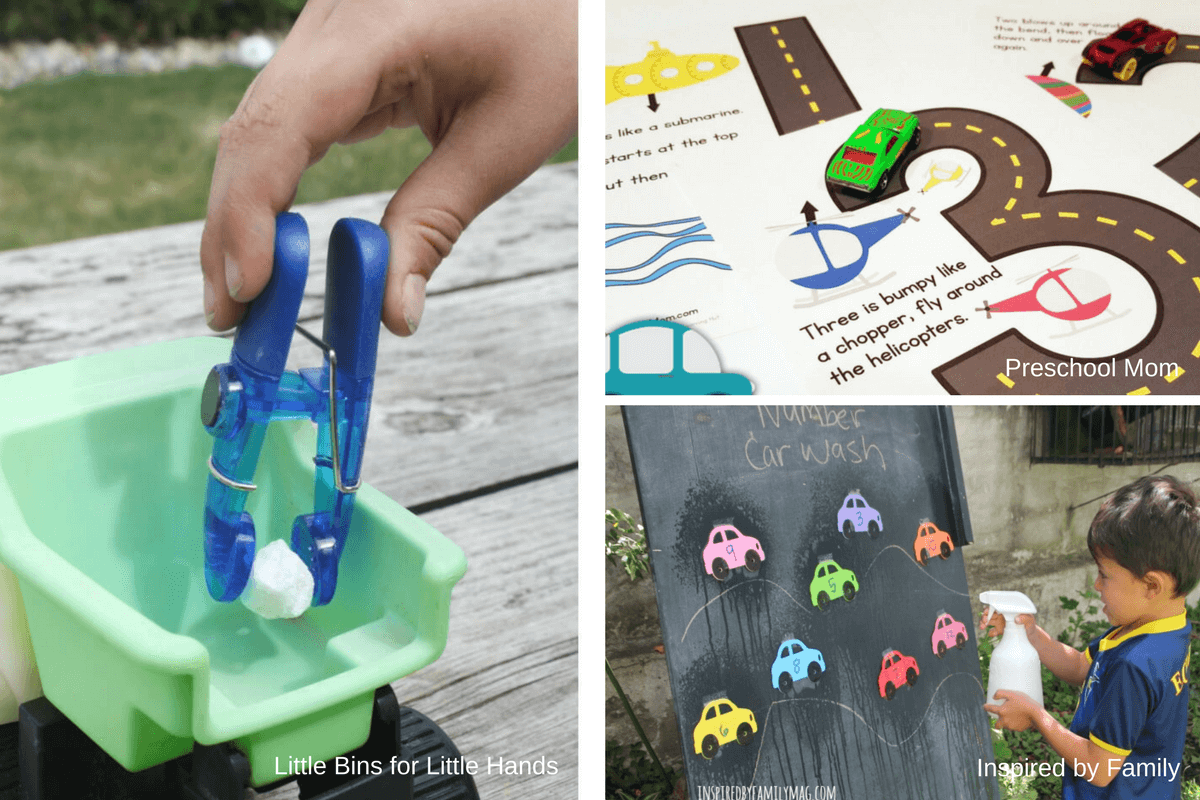 Math and fine motor activities for a preschool transportation unit or theme