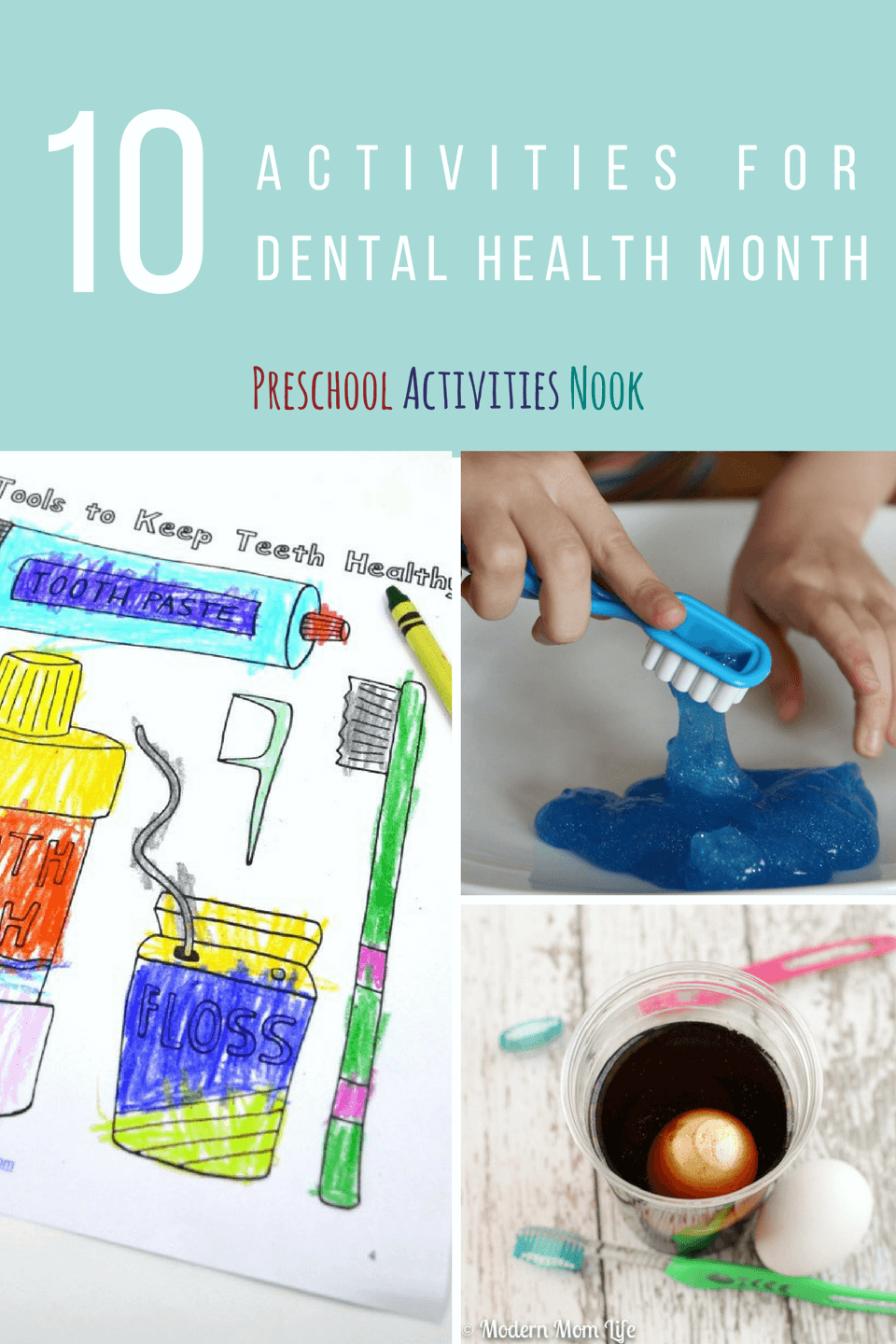 Plan dental health month activities! These are great for brushing teeth lessons for preschoolers and fine motor tooth themed work.