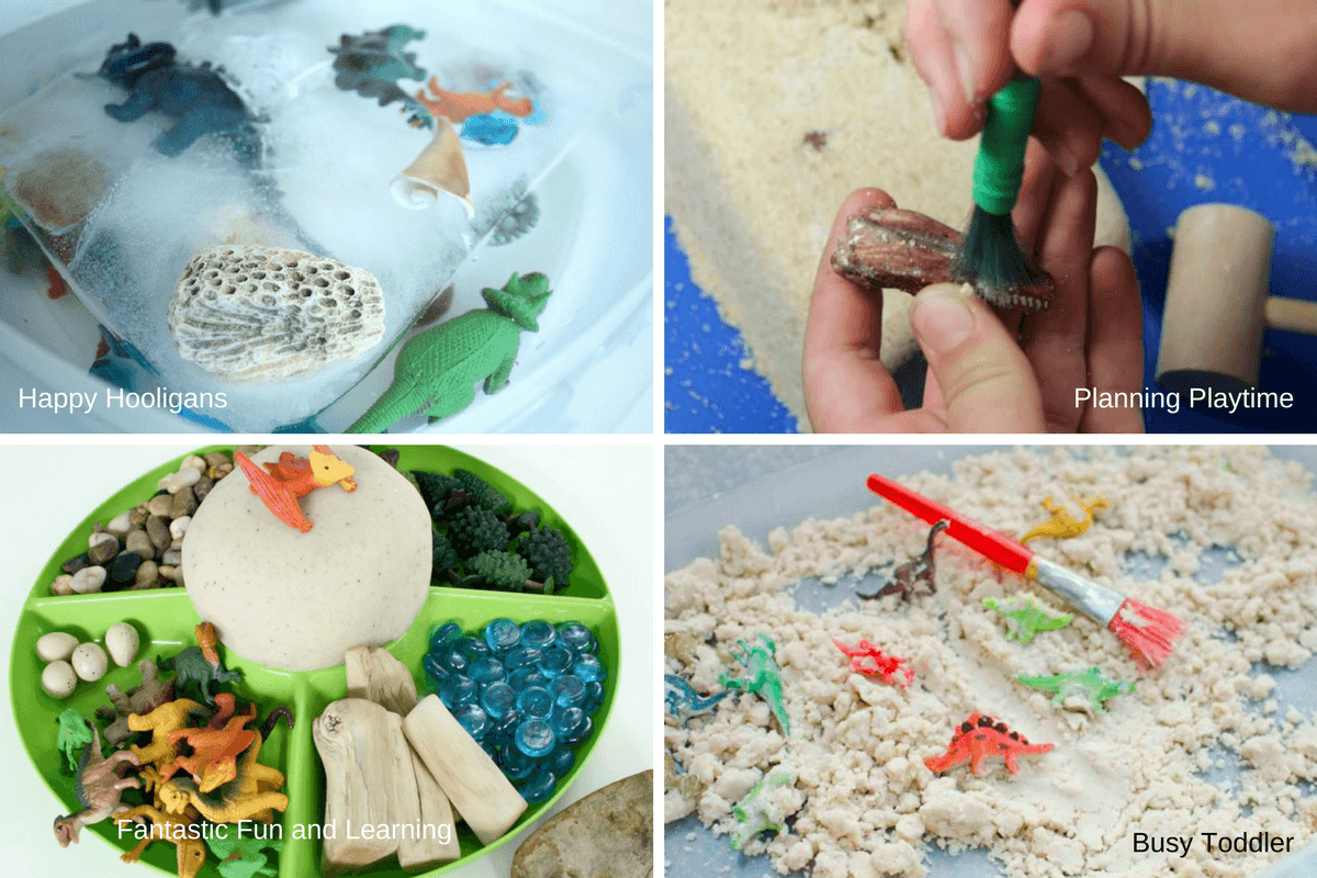 Dinosaur sensory bins, archeology digs and playdough activities for preschoolers