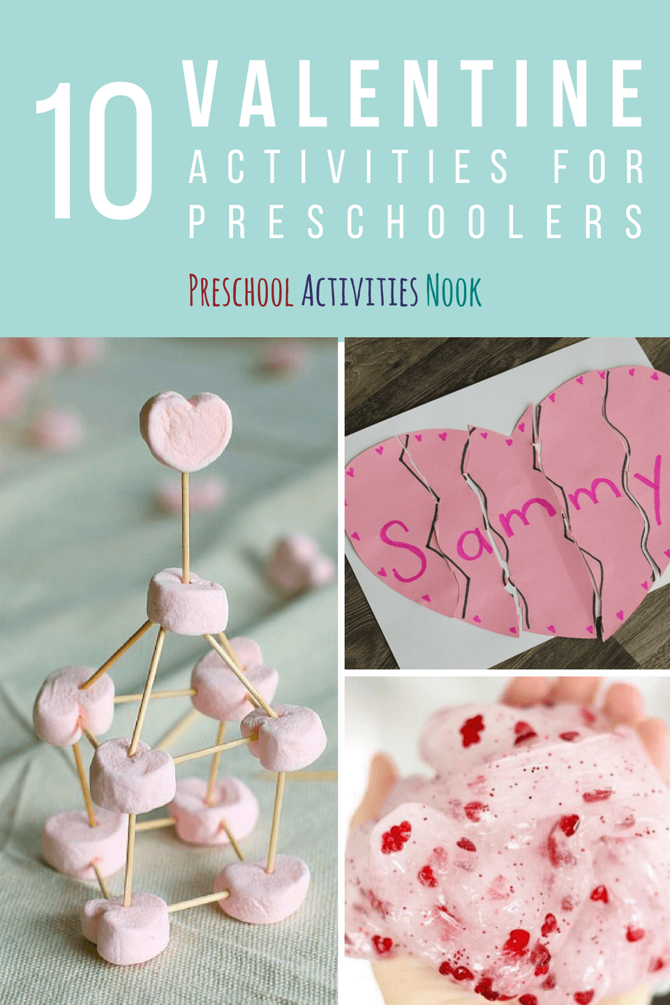 Make heart crafts and Valentine activities for kids! These are great February craft ideas for kids with gross motor and fine motor activities.
