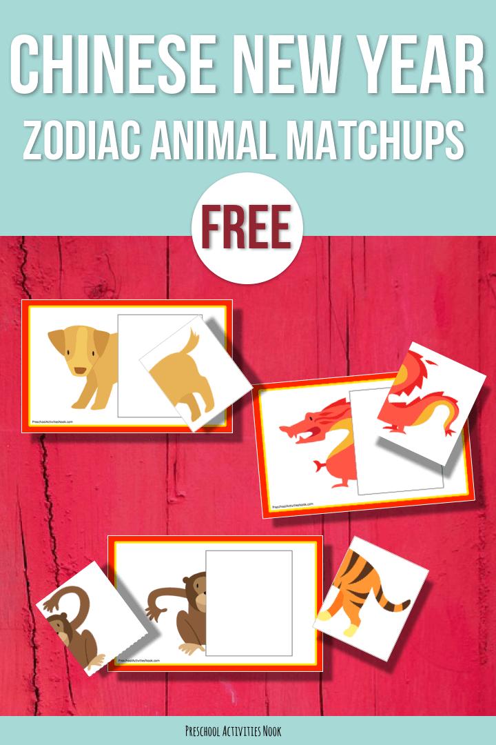 Free: Chinese New Year Zodiac Animal Halves - Preschool ...
