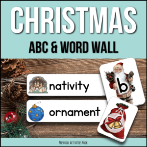 Christmas ABC vocabulary and word wall cards