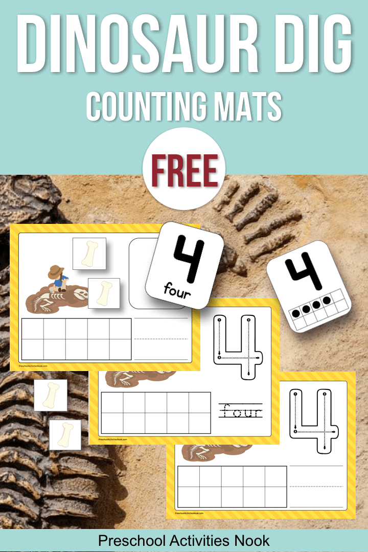 image about Printable Floor Mats identify Dinosaur Dig Counting Mats - Preschool Functions Nook